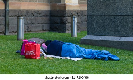 Melbourne, Australia - December 25 2017: A Merry Christmas for the many homeless people is not a reality in Melbourne. The 2017 census reports 105,000 homeless people Australia-wide.