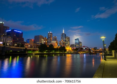 MELBOURNE, AUSTRALIA - DECEMBER 28, 2012: Cityscape image of Melbourne, during summer sunset. - 28 December 2012, Melbourne, Australia.