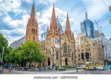 Melbourne, Australia - December 28, 2018: St Paul's Cathedral, designed by major English Gothic Revival architect William Butterfield and completed in 1891