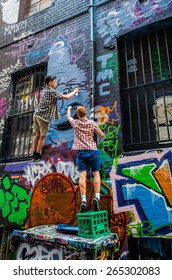 MELBOURNE, AUSTRALIA - December 29, 2013: street art by an unknown artist in Rutledge Lane, a location where street art is permitted and encouraged.