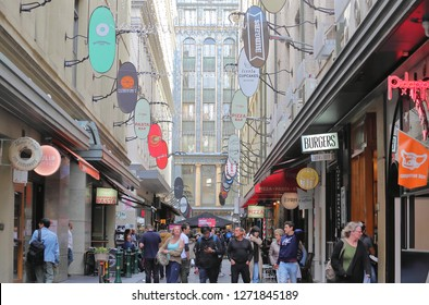 MELBOURNE AUSTRALIA - DECEMBER 3, 2018: Unidentified people visit Degraves street in Melbourne Australia