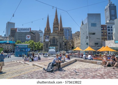 Melbourne, Australia - December 31, 2016: Federation Square, one of the famous landmark in the city of Melbourne, hosting a lot of cafe and tourist spot.