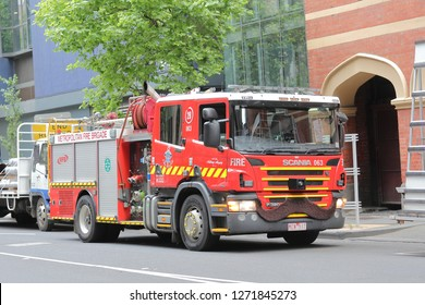 MELBOURNE AUSTRALIA - DECEMBER 4, 2018: Fire engine vehicle parked on street in Melbourne Australia