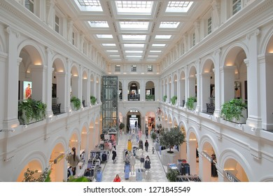 MELBOURNE AUSTRALIA - DECEMBER 4, 2018: Unidentified people visit H and M store at GPO historical building in Melbourne Australia