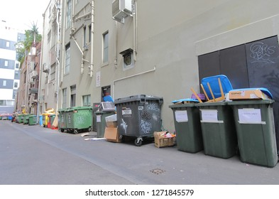 MELBOURNE AUSTRALIA - DECEMBER 4, 2018: Rubbish container filled up in Melbourne Australia