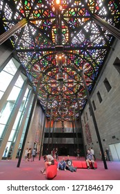 MELBOURNE AUSTRALIA - DECEMBER 4, 2018: Unidentified people visit National Gallery of Victoria. National Gallery of Victoria know as NGV is the oldest art museum in Australia founded in 1863