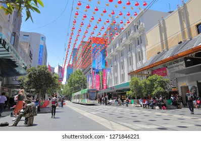 MELBOURNE AUSTRALIA - DECEMBER 4, 2018: Unidentified people visit Bourke street shopping mall in Melbourne Australia