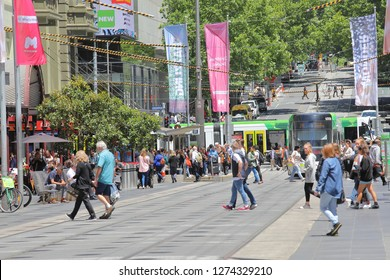 MELBOURNE AUSTRALIA - DECEMBER 4, 2018: Unidentified people visit Bourke street shopping area in Melbourne Australia