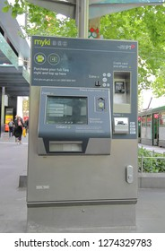 MELBOURNE AUSTRALIA - DECEMBER 4, 2018:  Myki ticket machine in Melbourne Australia. Myki is a smart card ticketing system used in Victoria Australia