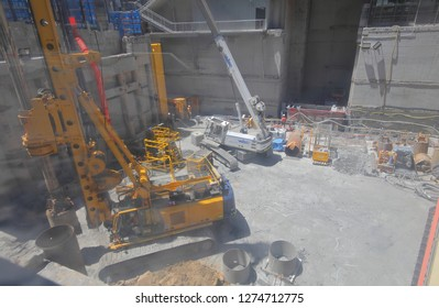 MELBOURNE AUSTRALIA - DECEMBER 4, 2018: New Metro train tunnel construction site in Melbourne Australia