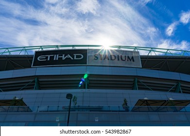 Melbourne, Australia - December 7, 2016: Etihad stadium with blue sky and picturesque clouds on the background. Docklands, Melbourne, Victoria