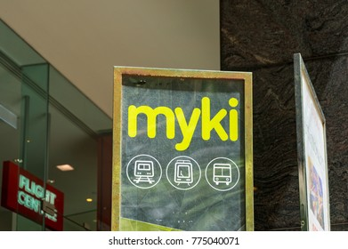 Melbourne, Australia - December 7, 2016: Myki ticketing system information board. Myki is a reloadable contactless smartcard ticketing system used on public transport in Victoria