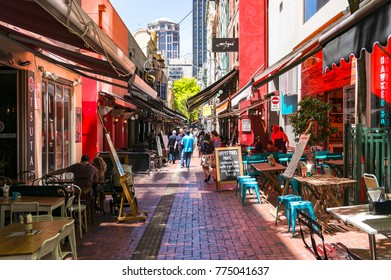 Melbourne, Australia - December 7, 2016: Hardware lane with outdoor cafes and restaurants, popular Melbourne lunch spot for locals and tourists