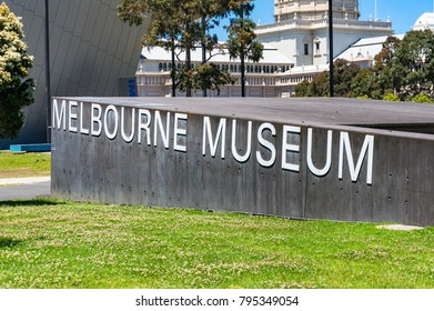 Melbourne, Australia - December 7, 2016: Melbourne museum sign at the museum grounds