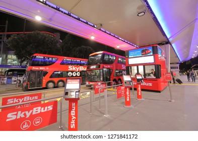MELBOURNE AUSTRALIA - DECEMBER 9, 2018: Skybus airport shuttle bus at Melbourne International airport in Melbourne Australia.
