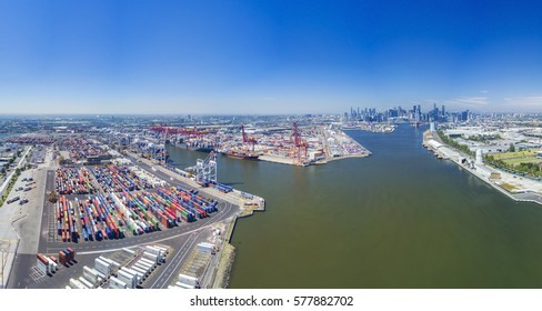 Melbourne, Australia - Feb 10, 2017: Aerial photo of the Port of Melbourne container terminal. It is Australia's busiest cargo port