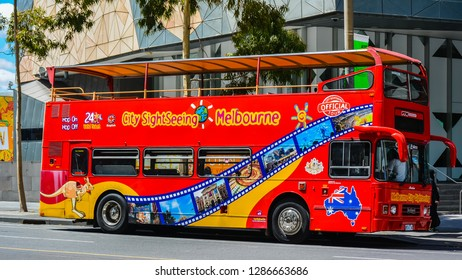 Melbourne, Australia - Feb. 2, 2017: City Sightseeing Tour Bus, Melbourne, Australia
