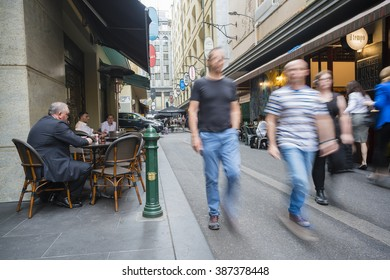 Melbourne, Australia - Feb 25, 2016: People visiting the cafes at Degraves Street in Melbourne, Australia. It s a popular tourist attraction in Melbourne.