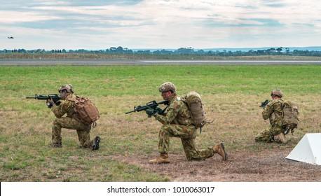 Melbourne, Australia - Feb 27, 2015: Australian troops at the Avalon air show