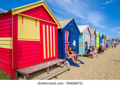 MELBOURNE, AUSTRALIA â?? FEBRUARY 11: Brighton Beach Boxes on February 11, 2016 in Melbourne.  Brighton Beach Boxes are one of the most iconic structures of Melbourne.