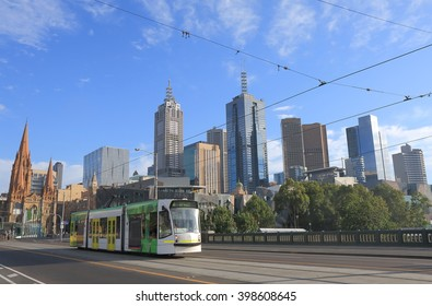 MELBOURNE AUSTRALIA - FEBRUARY 13, 2016: Melbourne cityscape and tram. Melbourne has the largest urban tramway network in the world ahead of St Petersburg.