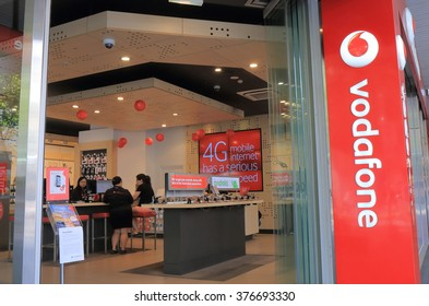 MELBOURNE AUSTRALIA - FEBRUARY 13, 2016:Unidentified people shop at Vodafone in Melbourne. Vodafone is the world's third-largest mobile telecommunications company.