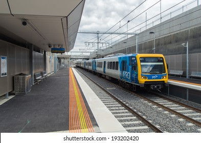 MELBOURNE, AUSTRALIA - February 15, 2014: The new railway station in the Melbourne suburb of Mitcham, completed in January 2014 following the removal of a level crossing.