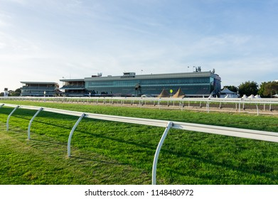 Melbourne, Australia - February 17, 2018: Caulfield Racecourse is a horse racing track in the City of Glen Eira. In the centre of the track is a park and wetland area.