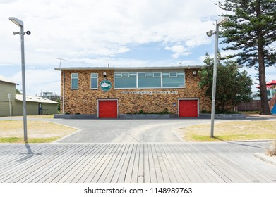 Melbourne, Australia - February 18, 2018: clubhouse of the Elwood Angling Club on the foreshore of Elwood Beach.