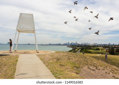 Melbourne, Australia - February 18, 2018: Point Ormond in Elwood in the City of Port Phillip is an elevated point by Port Phillip Bay.
