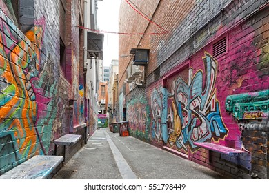 Melbourne, Australia - February 2015: Street art by unidentified artist. Melbourne's graffiti management plan recognises the importance of street art in a vibrant urban culture