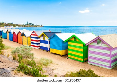 Melbourne, Australia - February 21, 2015: Brighton bathing boxes,  with classic Victorian architectural features, are a popular Bayside icon and cultural asset at Brighton Beach, Melbourne, Australia