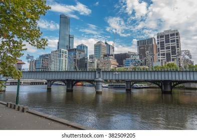 Melbourne Australia February 22 2015 Views of Melbourne City along the Yarra River's South Bank Precinct