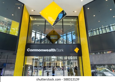 Melbourne, Australia - February 23, 2017: the Commonwealth Bank is the largest bank in Australia.  This is its flagship branch on the corner of Bourke and Elizabeth Streets.