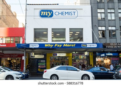 Melbourne, Australia - February 23, 2017: My Chemist is an Australian group of independent pharmacies. This shop is on Elizabeth Street in Melbourne.