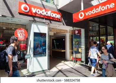 Melbourne, Australia - February 23, 2017: Vodafone Hutchison Australia is an Australian telecommunications business operating under the Vodafone brand. This is the Elizabeth Street store in Melbourne.
