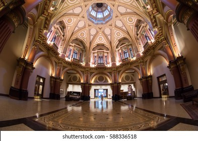 Melbourne, Australia - February 23, 2017: the lobby of 333 Collins Street was formerly the Commercial Bank of Australia. The building around the heritage lobby was rebuilt in 1990.