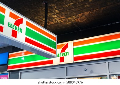 Melbourne, Australia - February 23, 2017: 7 Eleven is an international chain of franchised convenience stores. This store is on Elizabeth Street in Melbourne.