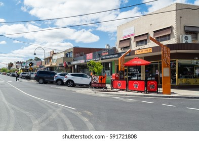 Melbourne, Australia - February 23, 2017: Blackburn Station Village is a local shopping strip on South Parade in Blackburn, an eastern suburb of Melbourne.