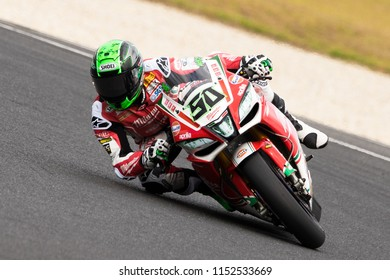 MELBOURNE, AUSTRALIA – FEBRUARY 25: Eugene Laverty 50 riding for Milwaukee Aprilia during WSBK warm up. 2018 MOTUL FIM Superbike World Championship at Phillip Island, Australia on February 25 2018.