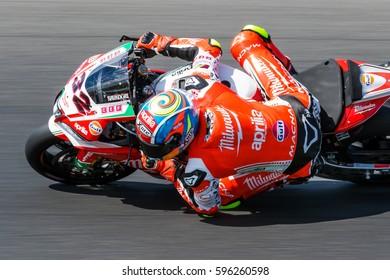 MELBOURNE, AUSTRALIA - FEBRUARY 26: Lorenzo Savadori #32 (ITA) during the 2017 MOTUL FIM World Superbike Championship at 2017 MOTUL FIM World Superbike Championship, Australia on February 26 2017.