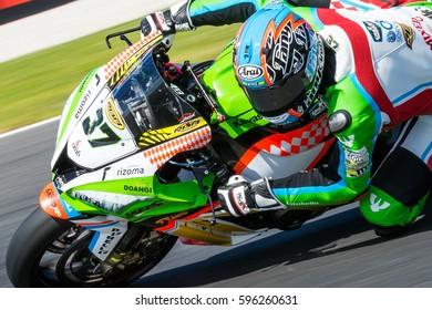 MELBOURNE, AUSTRALIA - FEBRUARY 26: Ondrej Jezek #37 (CZE) during the 2017 MOTUL FIM World Superbike Championship at 2017 MOTUL FIM World Superbike Championship, Australia on February 26 2017.