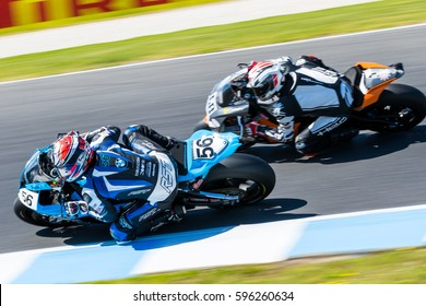 "MELBOURNE, AUSTRALIA - FEBRUARY 26: ""Troy Guenther QLD / Saint Unbreakable, BMW""passing another rider during the 2017 MOTUL FIM World Superbike Championship on February 26 2017. Photo: Dave Hewison"