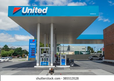 Melbourne, Australia - February 28, 2016: United Petroleum is an Australian independent chain of service stations, including this site in Springvale in suburban Melbourne.