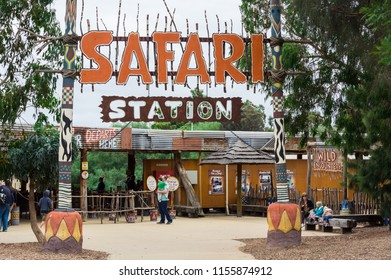 Melbourne, Australia - February 28, 2018: Safari Station at Werribee Open Range Zoo. Buses through the zoo depart from the safari station.