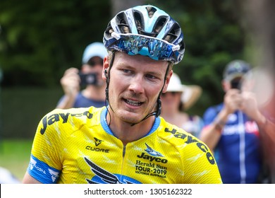 MELBOURNE, AUSTRALIA - FEBRUARY 3: Dylan VAN BAARLE (SKY) celebrates winning the Jayco Herald Sun Tour for 2019