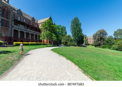 Melbourne, Australia - February 7, 2016: the expansive grounds of the former Abbotsford Convent in inner Melbourne are now open to the public and contain a number of cafes and galleries.