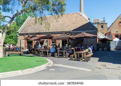 Melbourne, Australia - February 7, 2016: the Convent Bakery, Bar and Pizzeria at Abbotsford Convent is one of a number of cafes at the former convent, now a major art studio and gallery space.