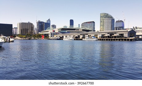 MELBOURNE, AUSTRALIA - FEBRUARY 7, 2016: Landscape View of Victoria Harbor