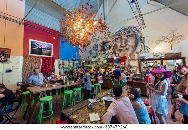 Melbourne, Australia - February 7, 2016: Lentil As Anything is a vegetarian restaurant at Abbotsford Convent, operating as a social enterprise with patrons paying by donation.